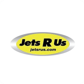 Jets R Us logo with black letters and a bright lemon yellow oval background