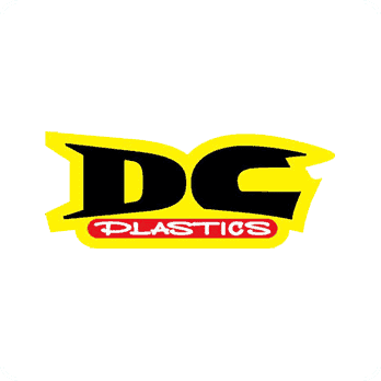DC Plastics logo surrounded by yellow field.
